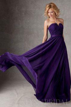 Flattering A Line Dipped Chiffon Long Bridesmaid Dress