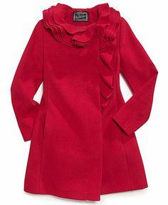 S. Rothschild Kids Coat, Girls Ruffle Coat - Kids Girls 7-16 - Macy's