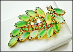 Vintage Frosted Green Glass and Aurora by serendipitytreasure, $38.00