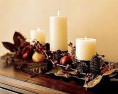 Easy Thanksgiving table settings with pine cones and branches - would also make a great Fall table centerpiece Thanksgiving Centerpieces, Thanksgiving Crafts, Thanksgiving Table, Table Centerpieces, Table Decorations, Centerpiece Ideas, Candle Tray, Holiday Fun, Holiday Decor