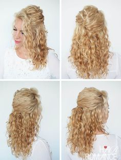 A quick half-up twist in curly hair. If you want to see more curly hair tutorials, check out Hair Romance's 30 Days of Curly Hairstyles ebook at http://www.hairromance.com/shop