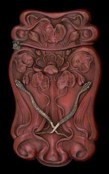 Match Safes, A GILBERT PATINATED SILVER MATCH SAFE .   circa 1900.  Snakes