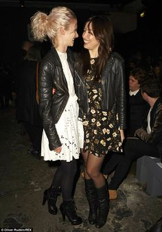 0c3ad83db95 Friendly fashion  The girls matched in their pretty dresses edged up with  leather jackets and