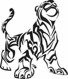 Tribal Tiger Free Tattoos Picture, with color and with piercing eyes