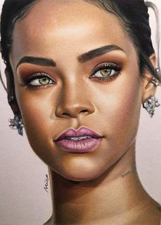 Colored pencils on bristol paper Portrait of Rihanna Realistic Drawings, Art Drawings Sketches, Colorful Drawings, Pencil Drawings, Colored Pencil Portrait, Color Pencil Art, Black Girl Art, Art Girl, Rihanna Drawing
