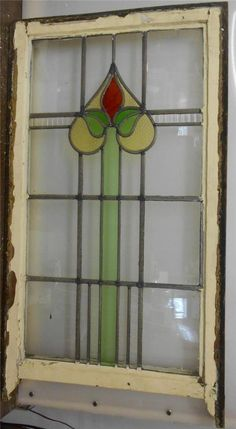"EDWARDIAN ENGLISH LEADED STAINED GLASS SASH WINDOW Floral design 19.5"" x 32.25"""
