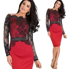 Vfemage Women Elegant Pinup Vintage Retro Lace Off Shoulder Patchwork Belted Stretch Colorblock Bodycon Party Fitted Dress 719 Work Party Dress, Lace Party Dresses, Pin Up Dresses, Bodycon Dress Parties, Stylish Dresses, Cheap Dresses, Girls Dresses, Fitted Midi Dress, Bodycon Dress With Sleeves