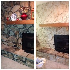 Painted the stone. Now just need to frame out the mantel. 70's stone fireplace makeover made easy with lots of paint.
