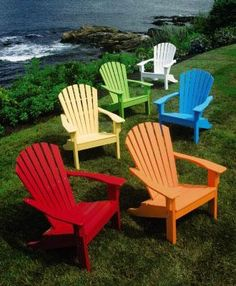 """Seaside Adirondack Chair -  This adirondack chair, made from recycled materials requires no upkeep. It won't rot or peel even when exposed to the sun and salt air, making it ideal for a fun, seaside lifestyle season after season. Ithas a shell back design and is set a little higher so it's easier to get in and out of. Six fun colors to choose from. Cushions sold separately. Chair, 38""""H, 32""""W, 34""""D. Footrest, 16""""H, 22""""W, 23""""D."""