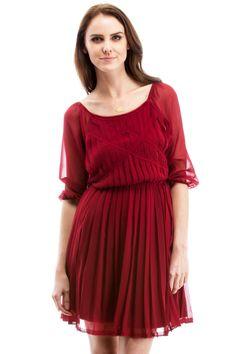 Pleated Burgundy Dress.