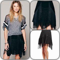 Free People Black Fringe Skirt Size 8 NWT Free People Black Fringe Skirt. Sheer Chiffon A lined mini with flirty fringe and uneven hem. Side zip closure. fully lined NWT Free People Skirts