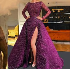 Purple High Side Split Mermaid Evening Dress Long Sleeves Detachable Train Party Gowns Dubai Turkish Arabic Evening Dresses Evening Dresses from Weddings & Events on AliExpress Long Sleeve Evening Dresses, Formal Evening Dresses, Elegant Dresses, Evening Gowns, Beautiful Dresses, Nice Dresses, Prom Dresses, Wedding Dresses, Long Sleeve Gown