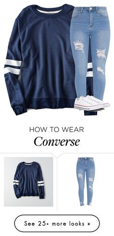 """Untitled #3415"" by laurenatria11 on Polyvore featuring American Eagle Outfitters and Converse"