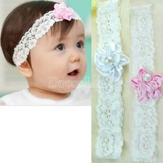 New Infant Girl Baby Child Lace Headband Head Hair band Flower Christening Gift Hoop