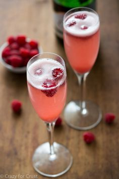 Champagne Punch Bellini made with just 3 ingredients! (Champagne, sorbet, and berries)