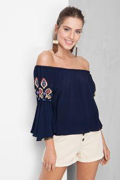 blusa ombro a ombro bordado | Dress to