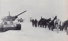 The supply columns often have no idea where their own troops are. Destroyed tanks indicate the way. Winter 1941-42