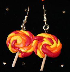 Sweet Earrings Handmade Polymer Clay Earrings Lollipop Jewelry by PurpleCatShop, €6.00