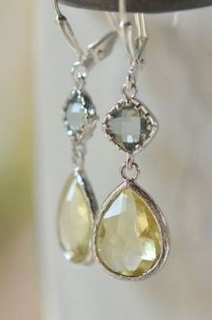 Citrine Yellow Teardrop and Charcoal Grey Diamond Dangle Earrings in silver