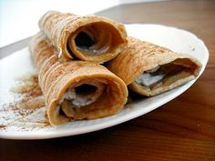 Crepes with cinnamon cream cheese filling.