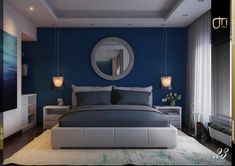 Bedroom design ideas, inspiration & pictures l homify La Nouva Residence: modern Bedroom by Ori – Architects Bedroom Wall Colors, Home Decor Bedroom, Modern Bedroom, Grey Colour Scheme Bedroom, Elegant Bedroom Design, Home Interior, Interior Design Living Room, Modern Interior, Blue Master Bedroom