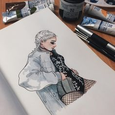 """""""✖️✖️ materials used: watercolor, gouache and staedtler mars professional"""""""