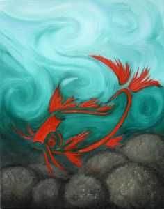 Koi fish painting by Kathleen Scott