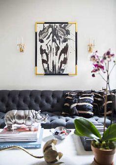 charcoal tufted sofa | domino.com