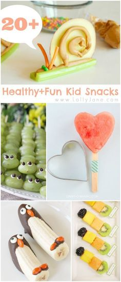 20+ healthy and fun kid snacks. How cute are these treats. Perfect for after school snacks or healthy desserts.