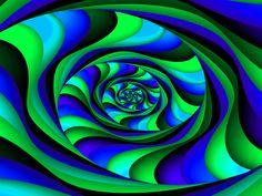 Fractal Art Wallpaper, Blue Green Swirl