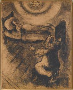 Elijah resurrects the son of the widow of Zarephath (I Kings, XVII, 17-22) - Marc Chagall