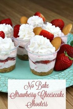 No Bake Strawberry Cheesecake Shooters – These delicious dessert cups are sure to be a hit at your upcoming spring gatherings. Yummy and easy to make they are the perfect individual size for self serving. AD No Bake Strawberry Cheesecake Shooters – Mini Desserts, Mini Dessert Cups, Mason Jar Desserts, Parfait Desserts, Individual Desserts, Just Desserts, Dessert In A Cup, Mini Dessert Shooters, Easy Strawberry Desserts