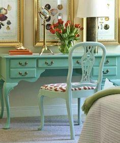 Tiffany blue desk....