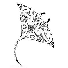 Tatouage maori de manta d'eau