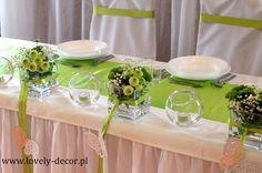 Dekoracje stołu weselenego - zieleń #wedding #ślub #wesele #dekoracje