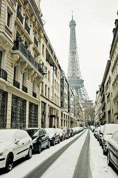 Eifffel Tower under snow covered street