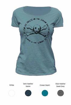 Skull and crossbone ladies t-shirt, Milano Washington area.  Organic cotton, hand printed silkscreen print with water based ink.