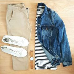 Men's outfit grid - navy and white striped shirt with denim jacket