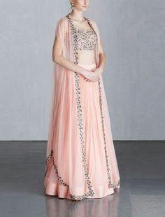 Peach Pink Cape and Lehenga Set Shrug For Dresses, Indian Gowns Dresses, Indian Fashion Dresses, Indian Designer Outfits, Indian Wedding Outfits, Indian Outfits, Wedding Dresses, Red Lehenga, Cape Lehenga