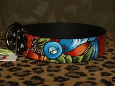 Tattoo leather dog collar 1X and 2 XL SPARROW by Anagramfineart, $90.00