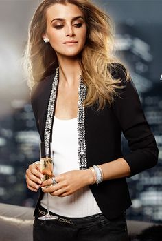 Love this elegant dress jacket paired with a ribbed sweater tank and black jeans... Perfect for casual holiday get togethers. Michael Kors  really knows how to dress women.