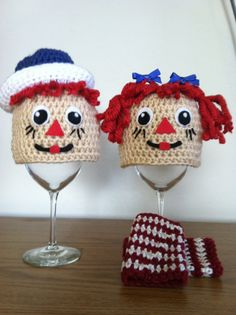 Crochet newborn Raggedy Ann and Andy set., via Etsy.