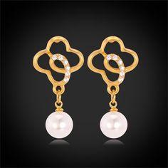 Pearl Earrings New 18K Real Gold Plated Wholesale Plant Flower Shape Drop Earrings For Women