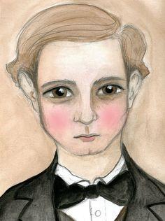James Victorian Gentleman Playboy Watercolor by bluehourstudio, $18.00