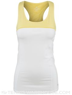 Colosseum Women's Summer Free To Be Tennis Tank (White & Yellow)