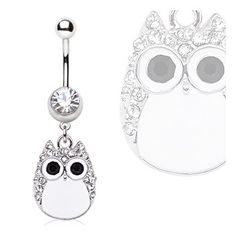 Surgical Steel White Owl Navel Ring.  #accessories #bodyjewelry #piercing #jewelry #piercings #bellyring #owl #navelring ♥ $8.49 via OnlinePiercingShop.com
