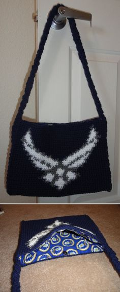 Air Force handbag/purse - this bag is also the perfect size for a tablet. Fully lined in Air Force fabric.