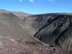 BASIN AND RANGE <><> Rainbow Canyon <> Rainbow Canyon cut into volcanic deposits on the edge of the Darwin Plateau - Inyo County, California