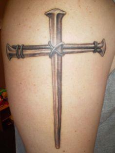 Realistic Nail Cross Tattoo Ideas On Upper Arm - http://tattooideastrend.com/realistic-nail-cross-tattoo-ideas-on-upper-arm/ - #Cross, #Tattoo, #Upper
