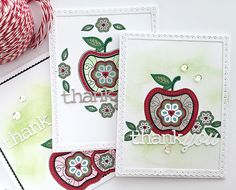 Thank You Apple Cards by Danielle Flanders for Papertrey Ink (April 2016)